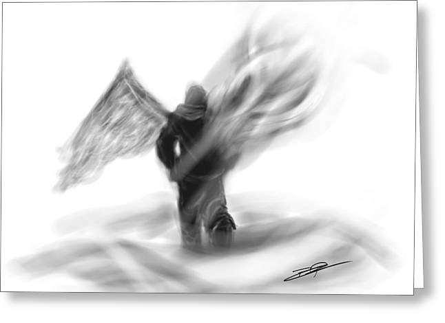 Hoodies Digital Art Greeting Cards - Walking With Angel Wings Greeting Card by Baron Pollak
