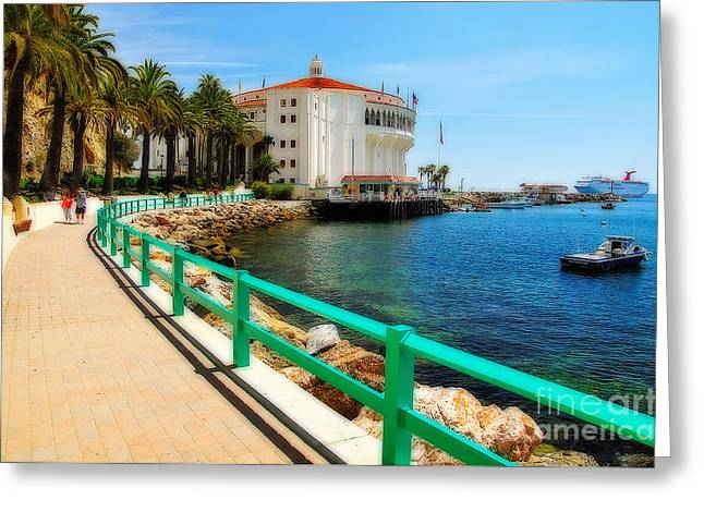 Boat Cruise Greeting Cards - Walkway to Avalon Casino Greeting Card by Eddie Yerkish