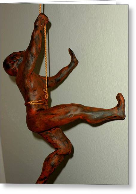 Rust Sculptures Greeting Cards - Wall Climber Greeting Card by Terry DeMars