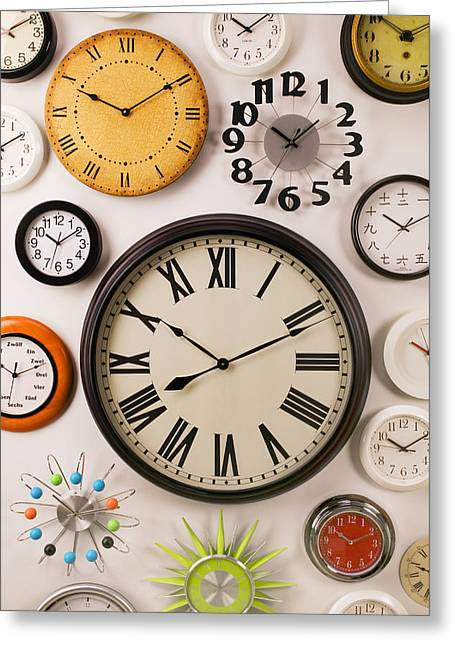 Wall Clocks Greeting Card by Garry Gay