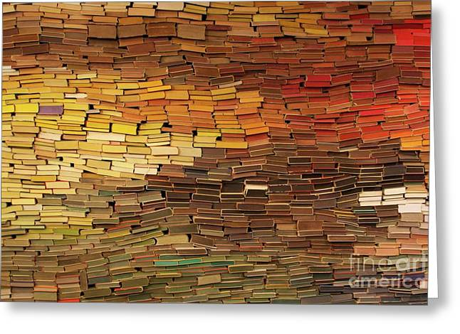 Stacks Of Books Greeting Cards - Wall of Books Greeting Card by R I