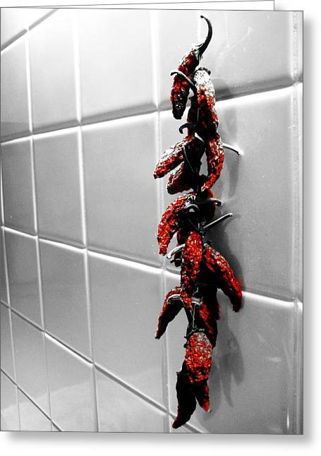 Chilies Greeting Cards - Wall of Flame Greeting Card by Toni Jackson