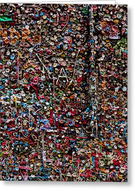 Chewing Greeting Cards - Wall of gum Greeting Card by Garry Gay