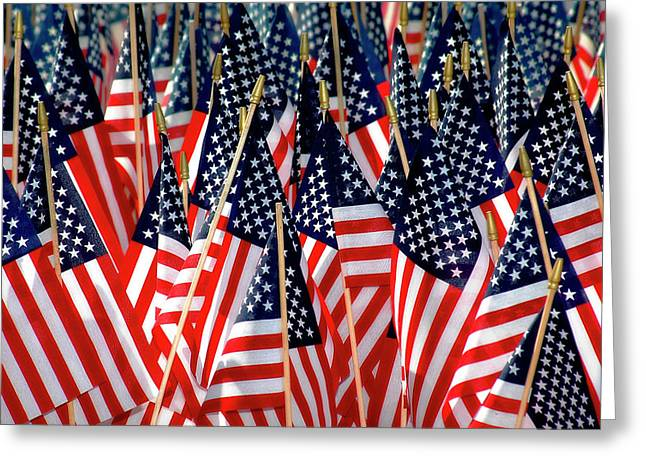 Wall of US Flags Greeting Card by Carolyn Marshall