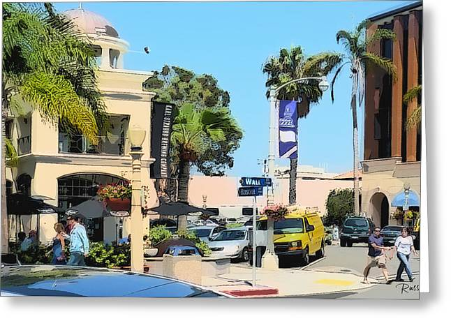 La Jolla Art Greeting Cards - Wall Street and Herschel La Jolla Greeting Card by Russ Harris