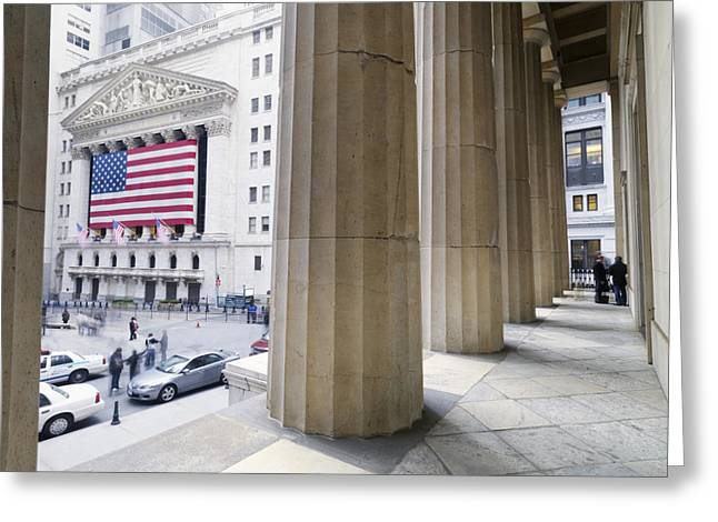 Federal Hall Greeting Cards - Wall Street And The New York Stock Greeting Card by Justin Guariglia