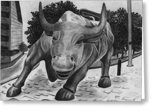 Occupy Drawings Greeting Cards - Wall Street Bull Greeting Card by Vic Ritchey
