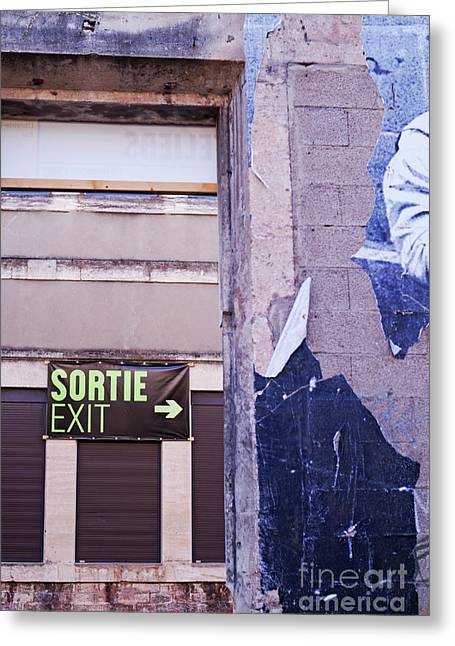 Exit Sign Greeting Cards - Wall with exit signs in French and English Greeting Card by Sami Sarkis