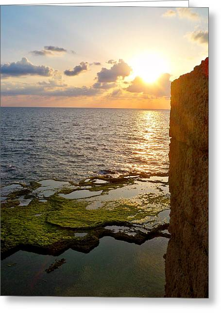 I Pyrography Greeting Cards - Walled City and the Sea Greeting Card by Katy Adebayo