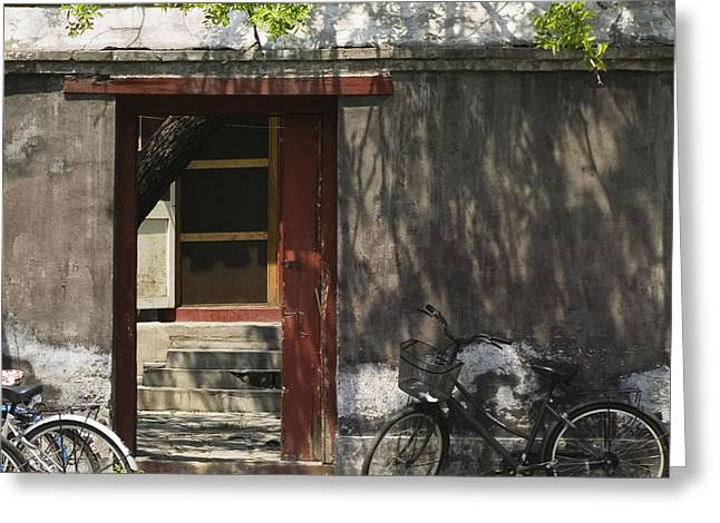 Old Beijing Greeting Cards - Walled Entrance With Bicycles Greeting Card by Andersen Ross