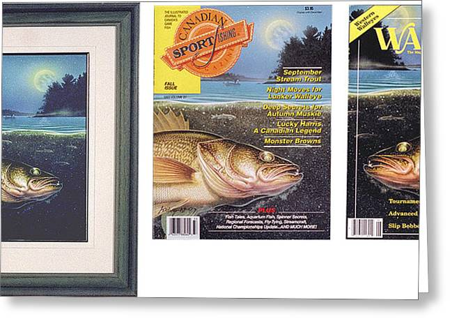 Bobber Greeting Cards - walleye Moon Greeting Card by JQ Licensing