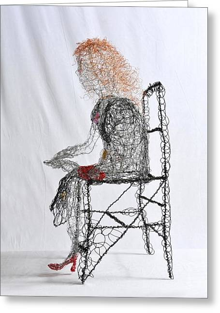 Chairs Sculptures Greeting Cards - Wallflower in Tight Red Shoes Greeting Card by Charlene White