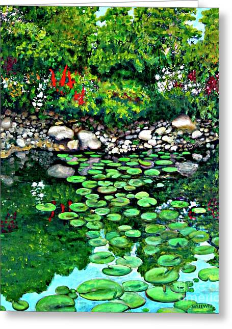 Lilly Pad Greeting Cards - Wallingford pond Greeting Card by Will Lewis