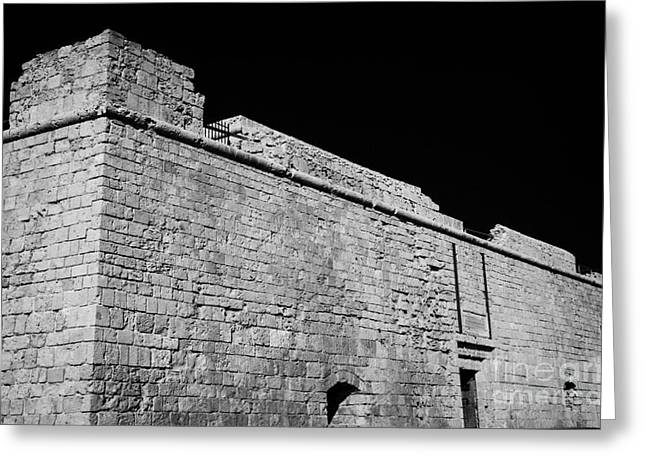 Pafos Greeting Cards - Walls Of Kato Paphos Mediaeval Fort Harbour Republic Of Cyprus Europe Greeting Card by Joe Fox