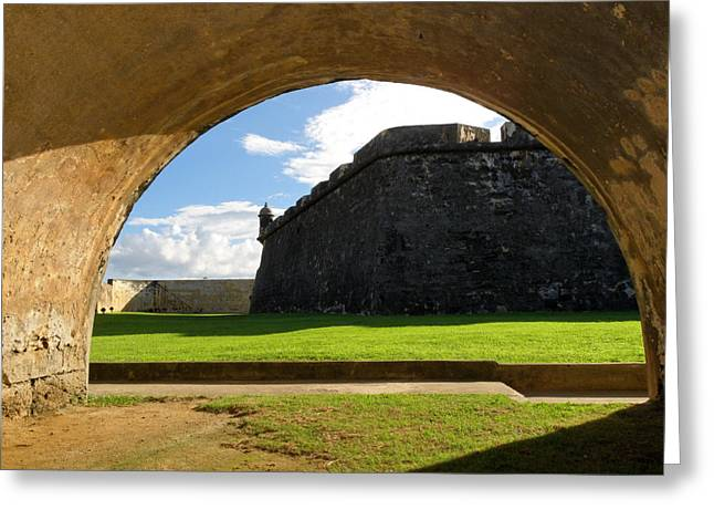 National Historic District Greeting Cards - Walls of San Felipe Del Morro Viewed Through  an Arch Greeting Card by George Oze