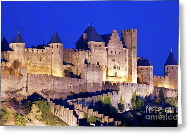 Carcassonne Greeting Cards - Walls of the medieval city at dusk in Carcassonne Greeting Card by Sami Sarkis