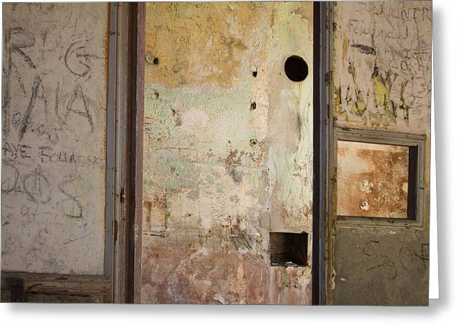 Deteriorating Greeting Cards - Walls with graffiti in an abandoned house. Greeting Card by Bernard Jaubert