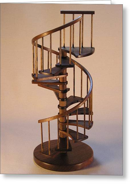 Print Card Sculptures Greeting Cards - Walnut spiral staircase  Greeting Card by Don Lorenzen