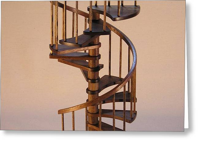 Walnut spiral staircase  Greeting Card by Don Lorenzen