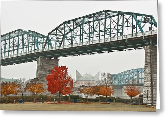 Tennessee Aquarium Greeting Cards - Walnut Street Bridge Greeting Card by Tom and Pat Cory
