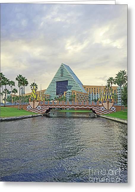Reflection Pyrography Greeting Cards - Walt Disney World - Dolphin Resort Greeting Card by AK Photography