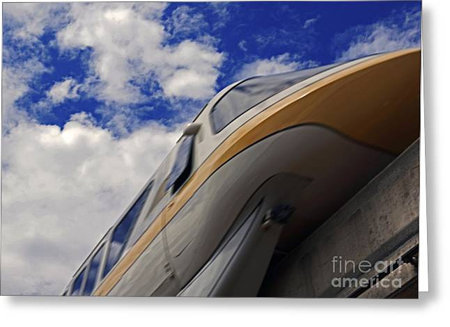 Magic Pyrography Greeting Cards - Walt Disney World - Monorail Yellow Greeting Card by AK Photography