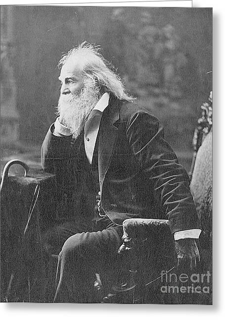 Photo-realism Greeting Cards - Walt Whitman, American Poet Greeting Card by Photo Researchers