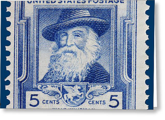 James Hill Greeting Cards - Walt Whitman postage stamp Greeting Card by James Hill