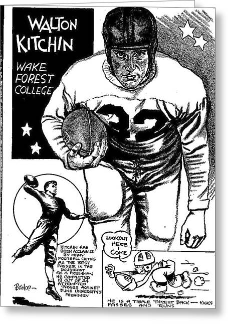 College Football Drawings Greeting Cards - Walton Kitchin Greeting Card by Steve Bishop