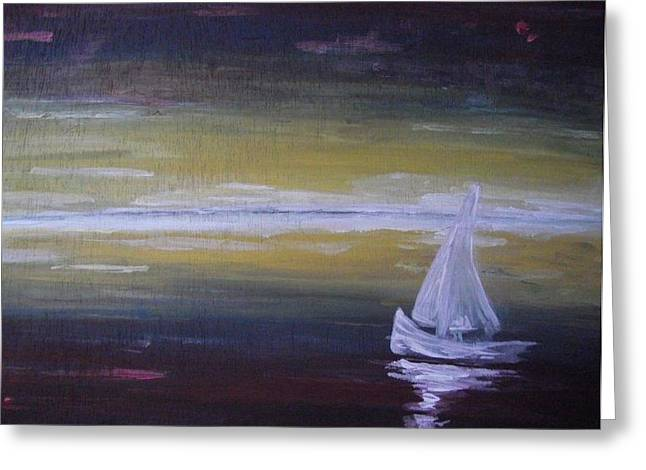 Sailboat Images Paintings Greeting Cards - Wanderer Greeting Card by Paula  Heffel