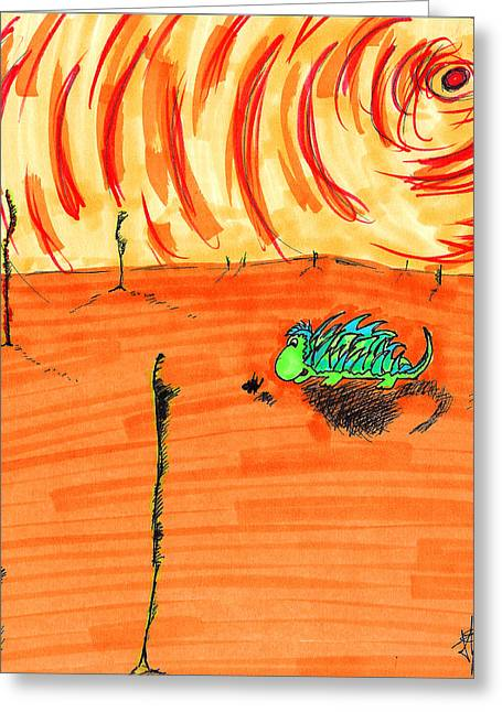 Wandering Greeting Cards - Wandering PricklePal Greeting Card by Jera Sky