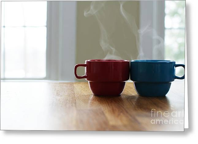 Boy Meets Girl Greeting Cards - Want to have coffee sometime? Greeting Card by Melissa  Ross