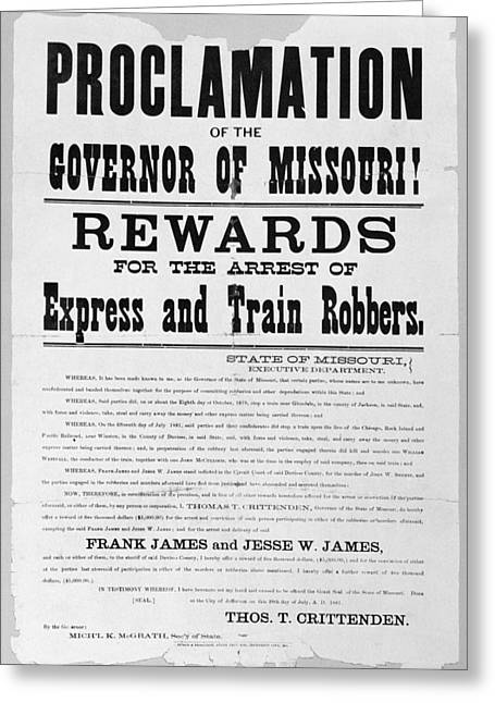 Proclamation Greeting Cards - Wanted Poster, 1881 Greeting Card by Granger