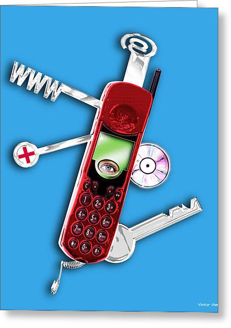 Cellphone Greeting Cards - Wap Mobile Telephone Greeting Card by Victor Habbick Visions