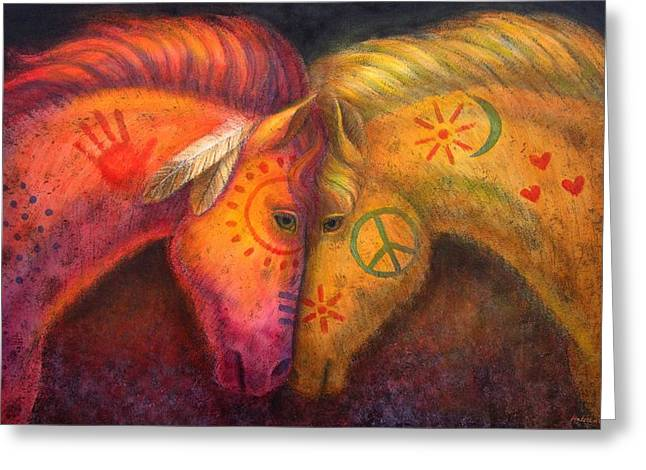 Painted Ponies Greeting Cards - War Horse and Peace Horse Greeting Card by Sue Halstenberg