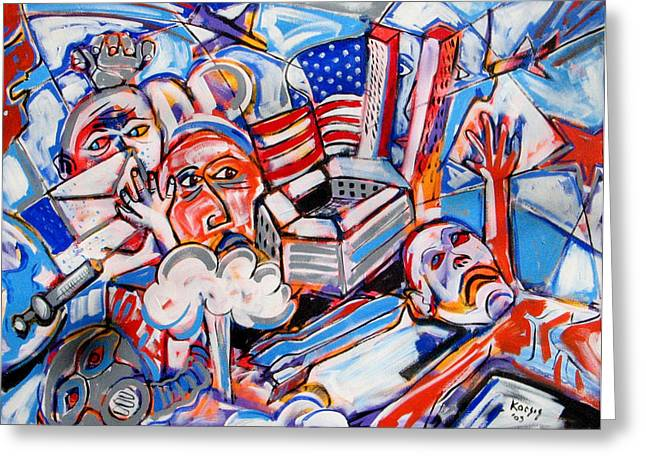 Terrorist Paintings Greeting Cards - War Is Raw Greeting Card by Rollin Kocsis