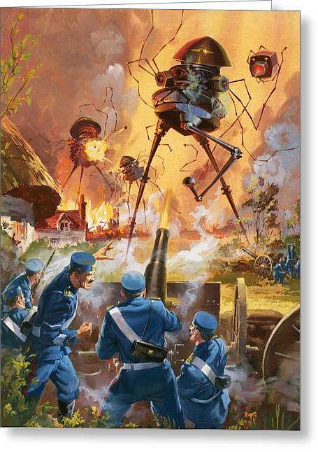 Science Fiction Greeting Cards - War of the Worlds Greeting Card by Barrie Linklater