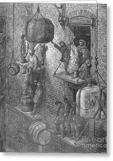 Manual Labor Greeting Cards - Warehousing In The City By Gustave Dore Greeting Card by Science Source