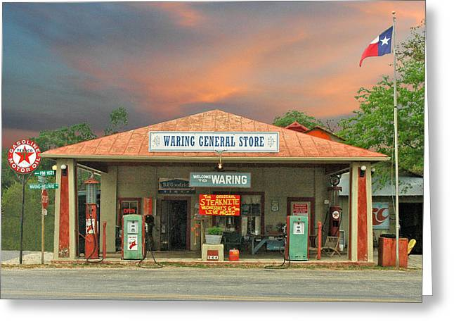 Service Station Greeting Cards - Waring General Store Greeting Card by Robert Anschutz