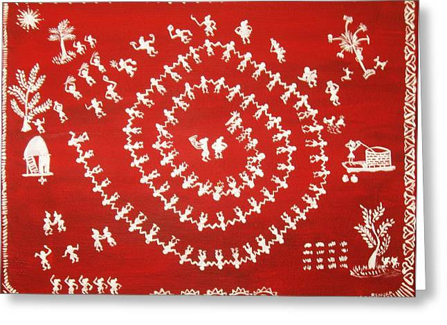 Warli Art Greeting Card by Renuka Thoppae