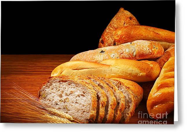 Toast Greeting Cards - Warm baked bread Greeting Card by Anna Omelchenko