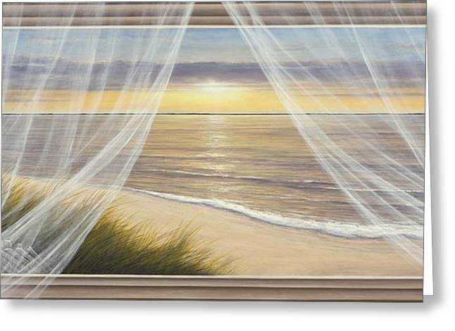 Sunset Prints Greeting Cards - Warm Breeze Panoramic View Greeting Card by Diane Romanello
