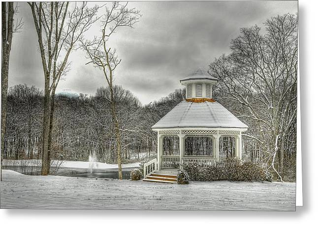 Warm Gazebo On A Cold Day Greeting Card by Brett Engle