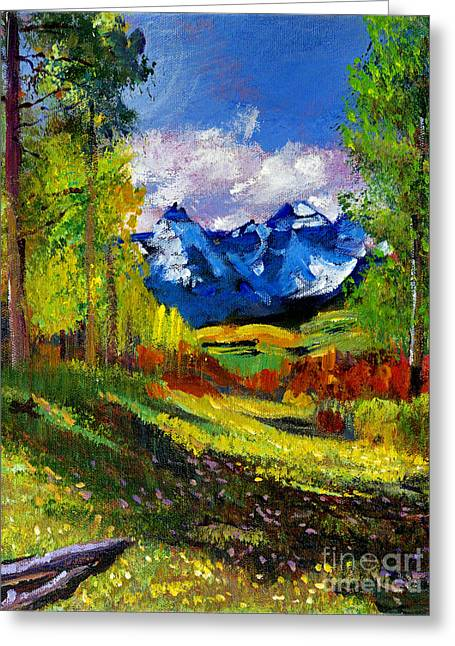 Snow Capped Mountains Greeting Cards - Warm Mountain Valley Plein Air Greeting Card by David Lloyd Glover