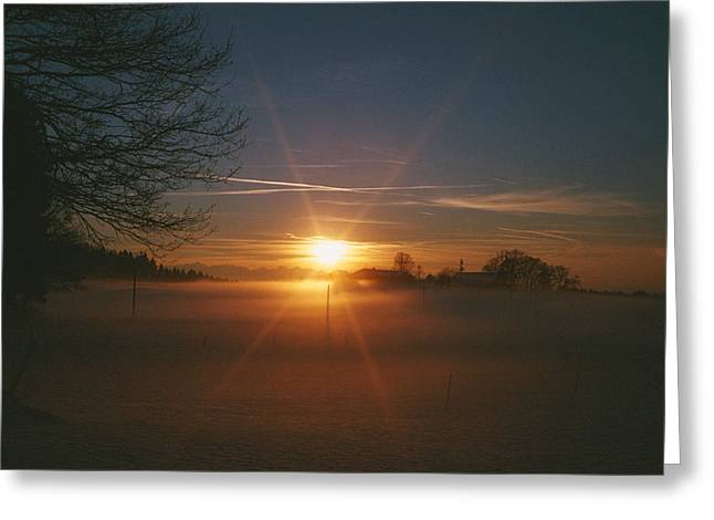 Sunset Scenes. Greeting Cards - Warm Sunlight Setting Greeting Card by Carsten Peter