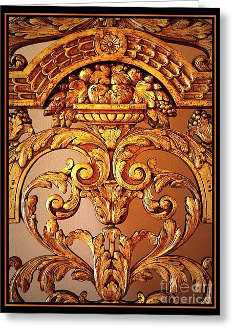 Browns And Golds Greeting Cards - Warm Wood Design with Border Greeting Card by Carol Groenen