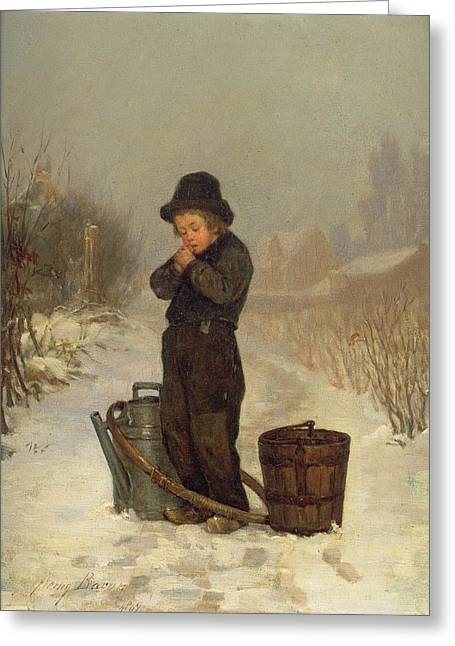 Water Jug Greeting Cards - Warming His Hands Greeting Card by Henry Bacon