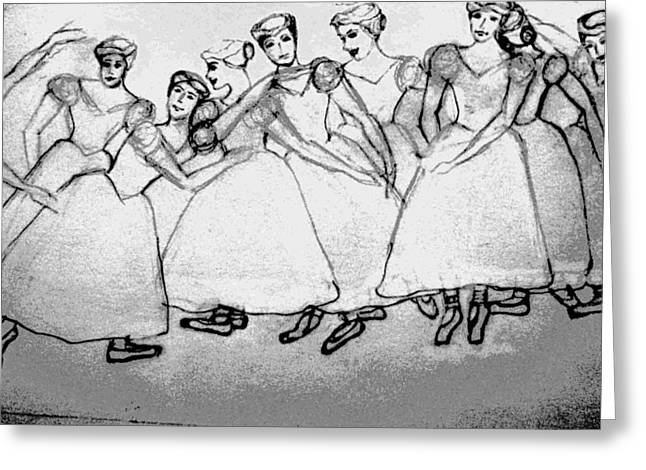 Ballet Dancers Drawings Greeting Cards - Warming Up - The Ballet Chorus Greeting Card by Forartsake Studio