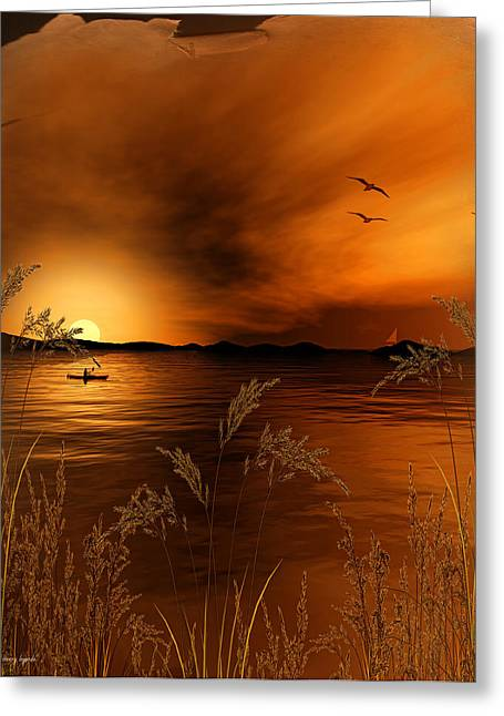 Accent Greeting Cards - Warmth Ablaze - Gold Art Greeting Card by Lourry Legarde