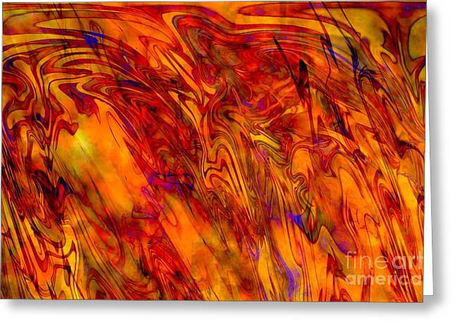 Abstract Digital Mixed Media Greeting Cards - Warmth and Charm - Abstract Art Greeting Card by Carol Groenen